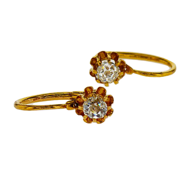 Vintage Floral Motif Diamond Earrings, 18k Yellow Gold