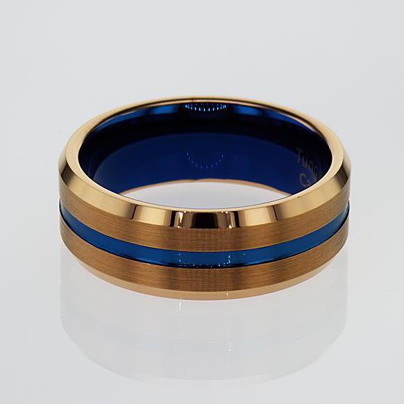 Tungsten Carbide Men's Wedding Band with Blue Stripe