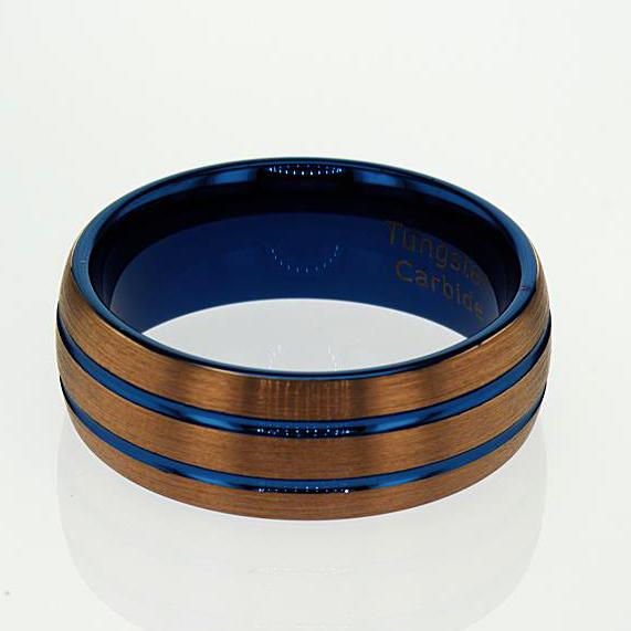Blue Double Stripe Tungsten Men's Wedding Band, 8mm