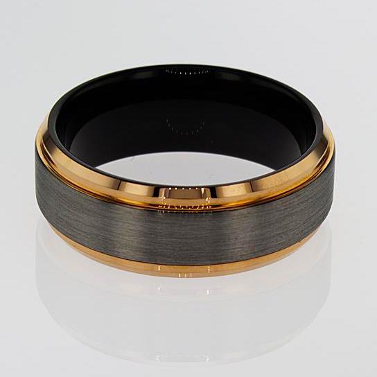 Tungsten Carbide Mens' Band, 8mm three tone