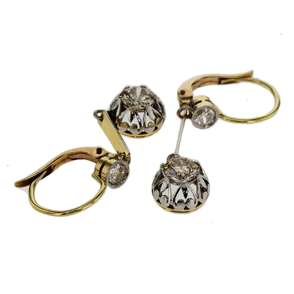 Floral Engraved Vintage Diamond Earrings, 18k White and Yellow Gold