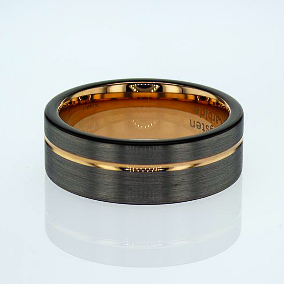 Rose Gold Plated Tungsten Men's Wedding Band
