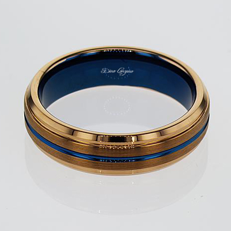 Blue and Rose Gold color Tungsten Men's Wedding Band , 6mm