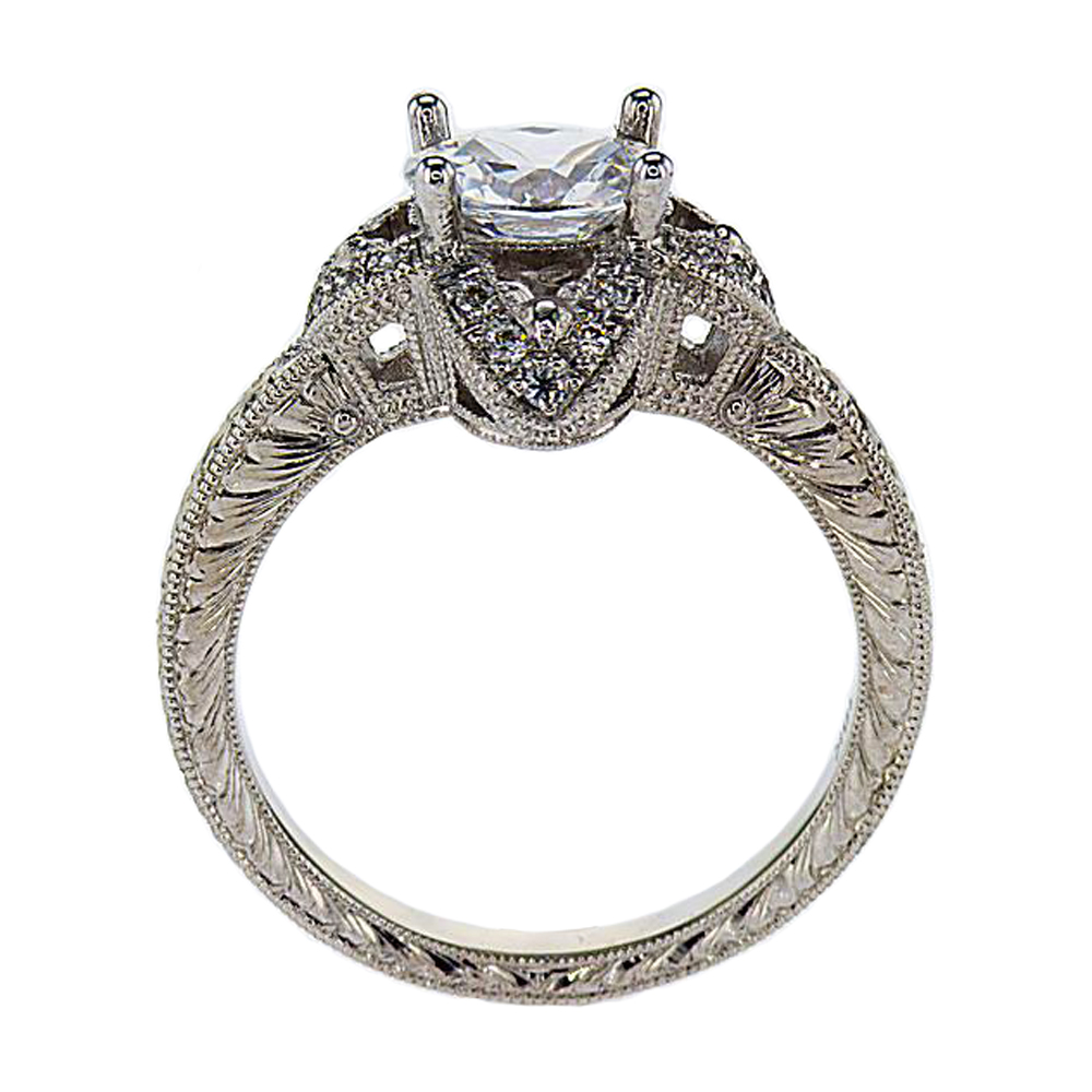 Floral inspired Engagement Ring , 18k White Gold (semi-mount)