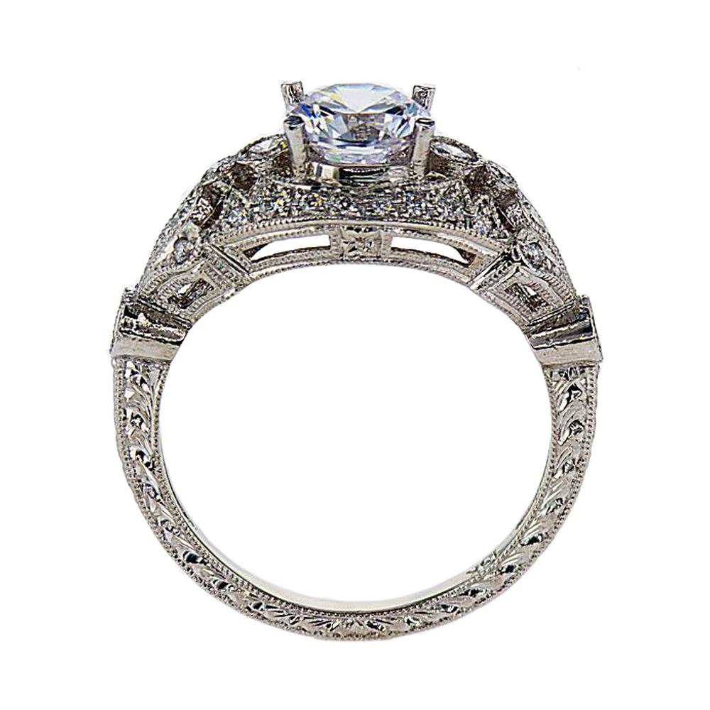 Art Deco Inspired Engagement Ring, 18k White Gold (semi-mount)
