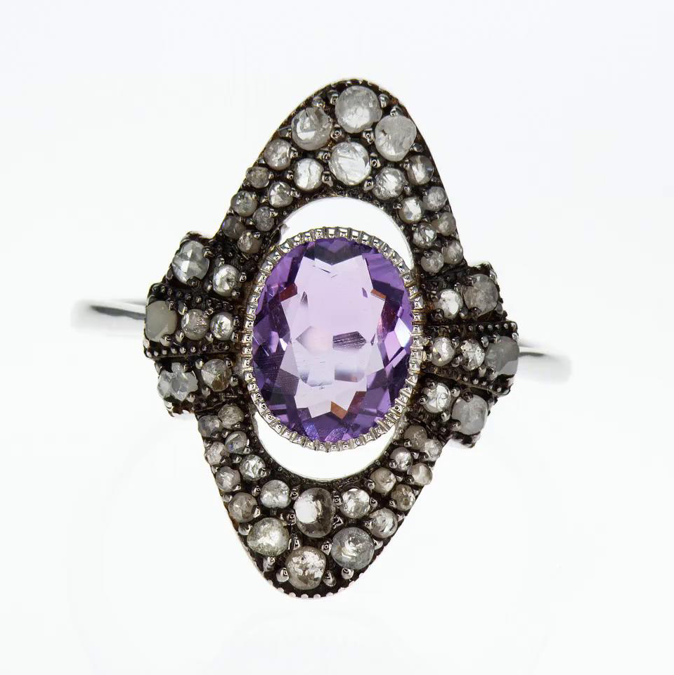 Vintage Inspired Fashion Ring with Gemstones, Vermeil