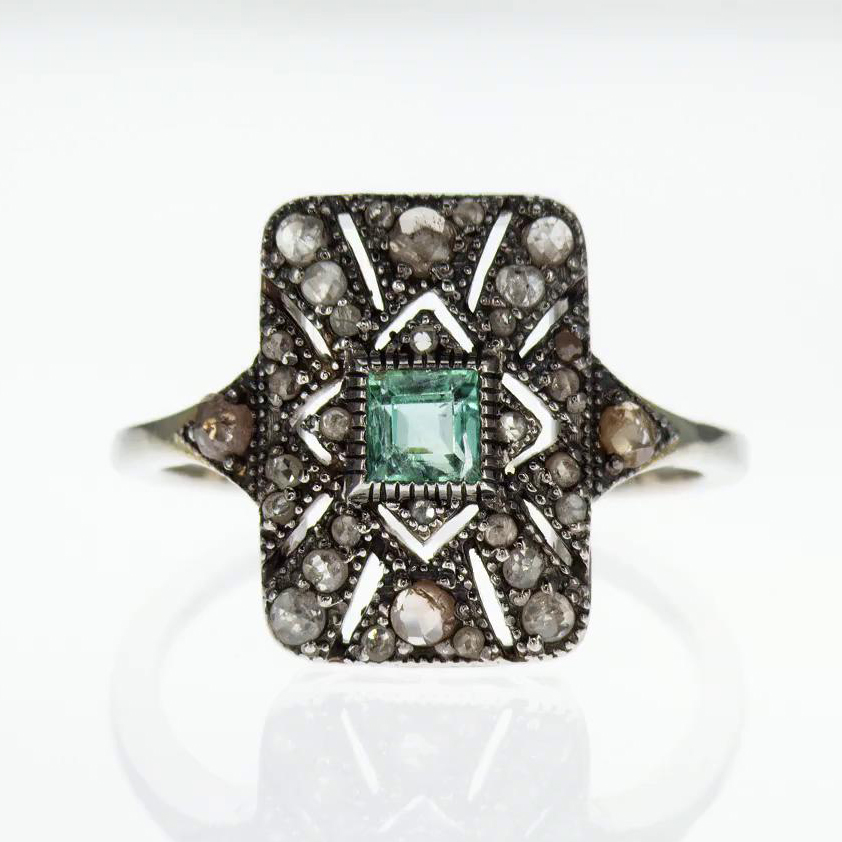 Edwardian-era Inspired Vermeil Ring with Genuine Gemstones