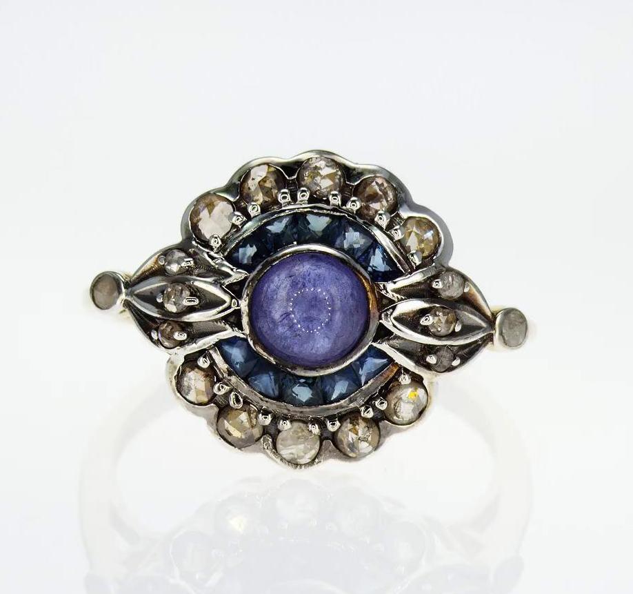 Vintage Inspired Genuine Gemstone Ring, Vermeil