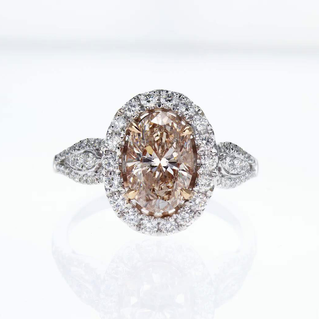 Fancy Brown Diamond Engagement Ring, 18k White and Rose Gold