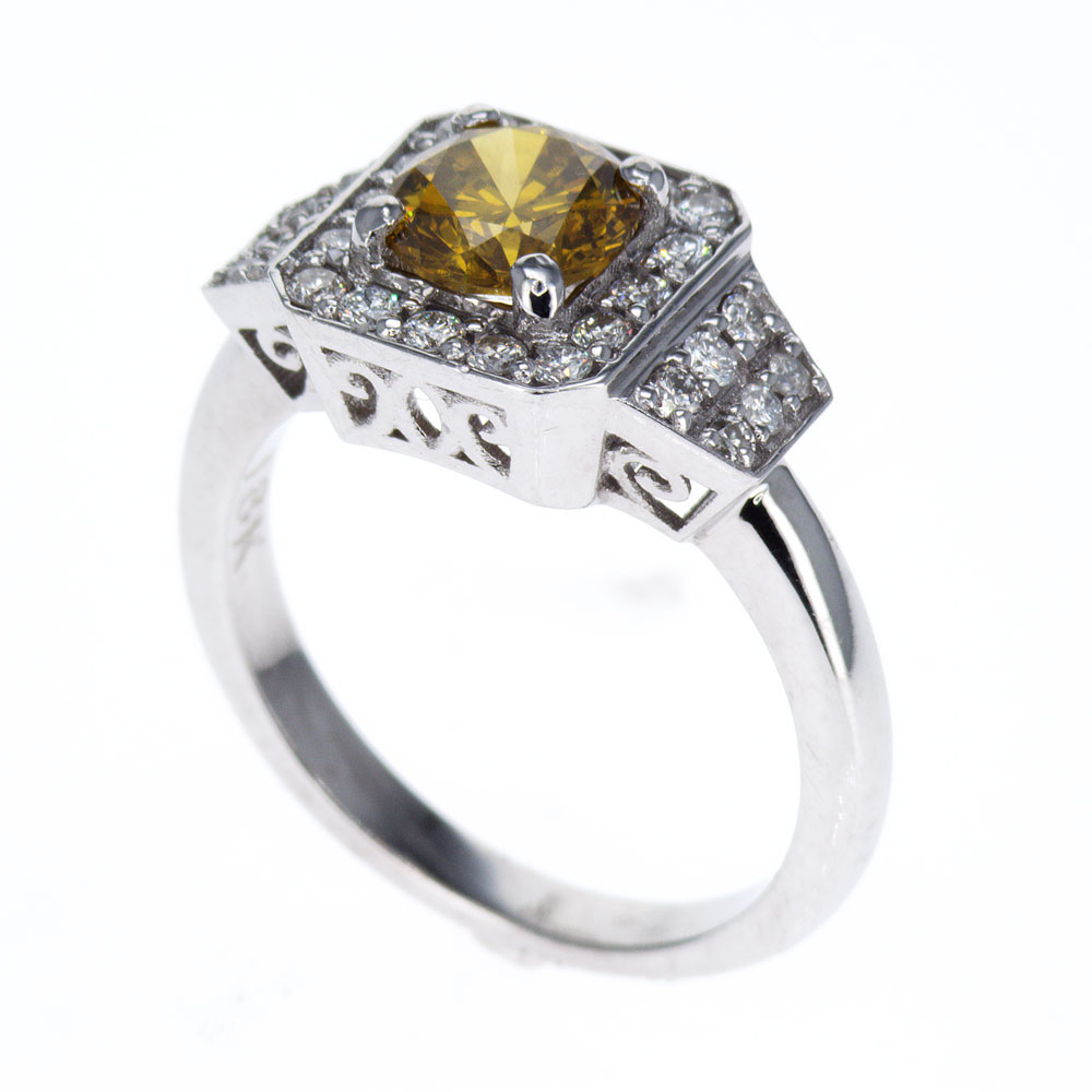 Fancy Yellow Color Diamond Engagement Ring