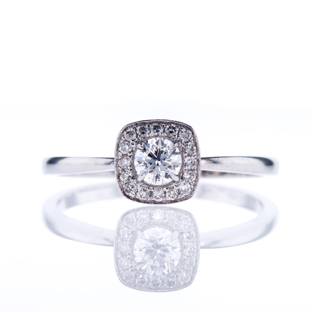 14K White Gold Square Halo Diamond Engagement Ring