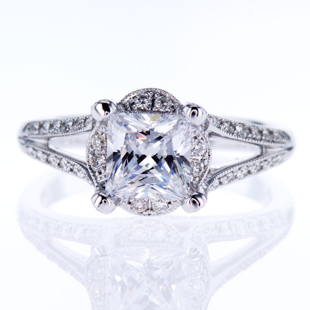 Vanna K Split Shank Engagement Ring, 18K White Gold (semi mount)