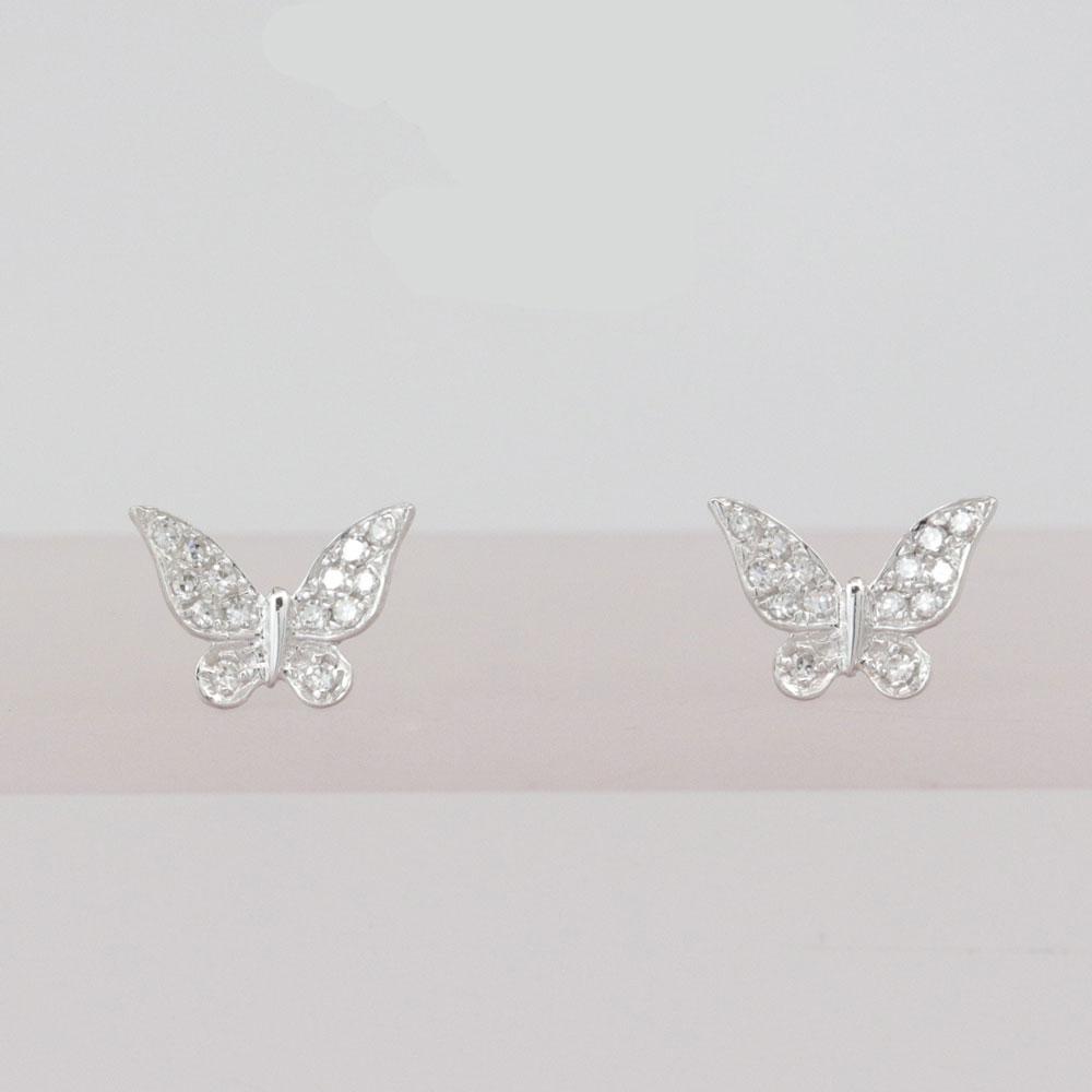 Butterfly Diamond Cluster Earrings, 14k White Gold
