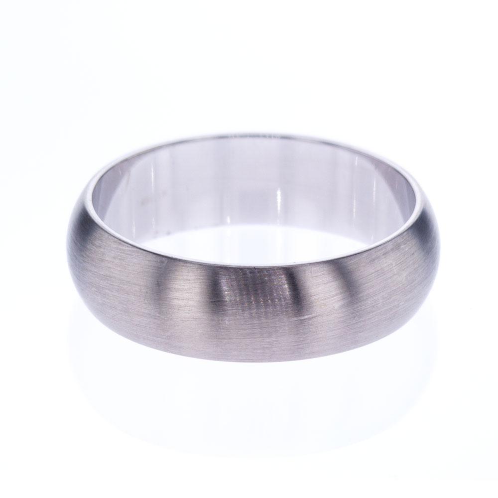 Classic Mens' Wedding Ring, Satin Finish, 14k White Gold