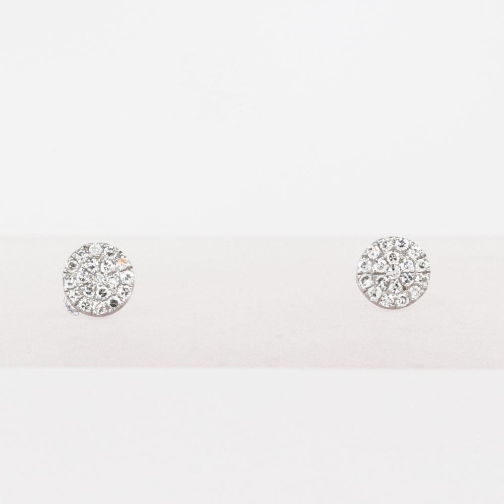Diamond Cluster Earrings, 14k White Gold