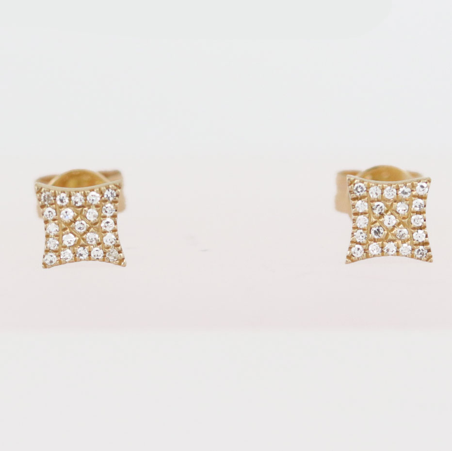 Diamond Cluster Earrings, 14k Yellow Gold