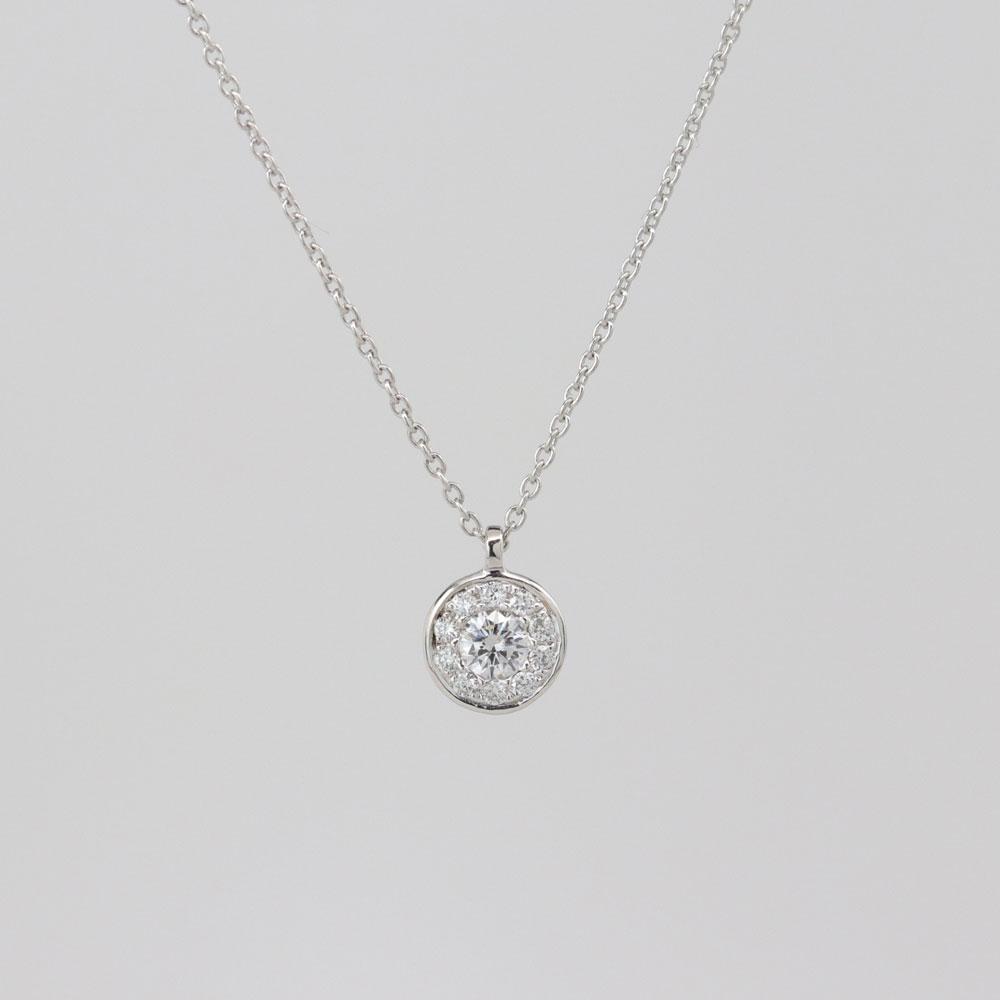 Halo Diamond Pendant and Chain, 14k White Gold