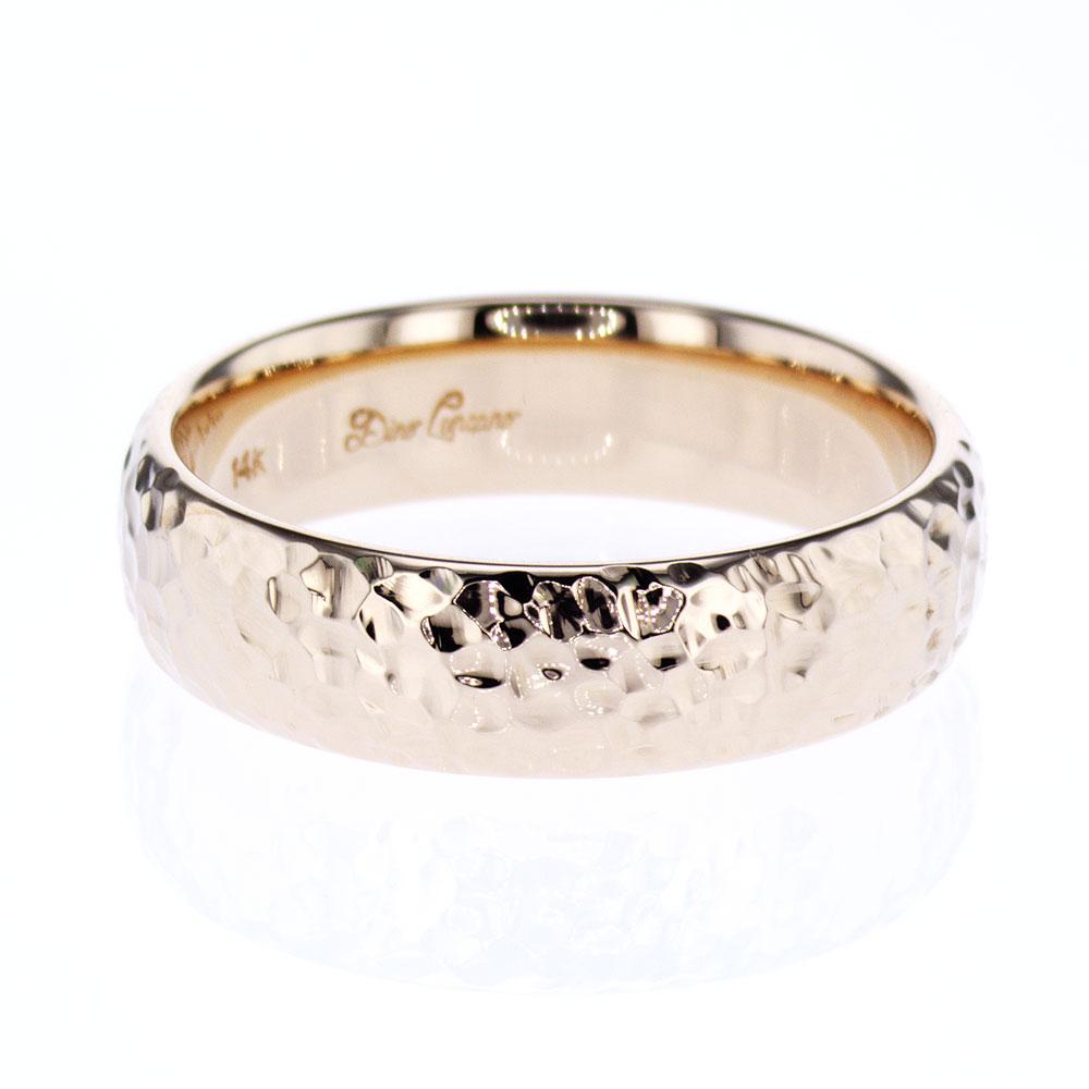 Hammered finish Men's Wedding Ring, 14k Yellow Gold
