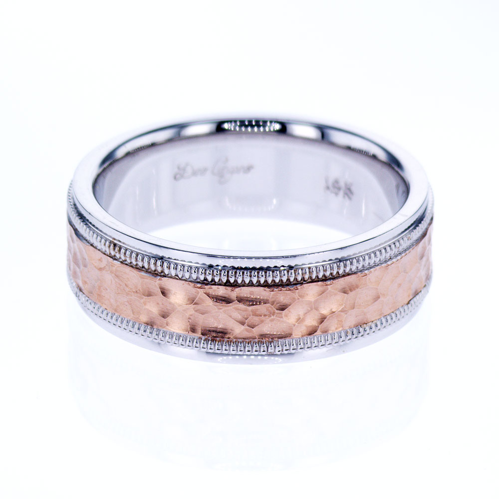 Hammered Two Tone Men's Wedding Band, 18k Rose and White Gold