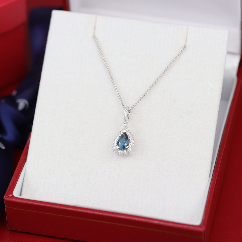 Diamond Pendant with London Blue Topaz with chain, 14K White Gold