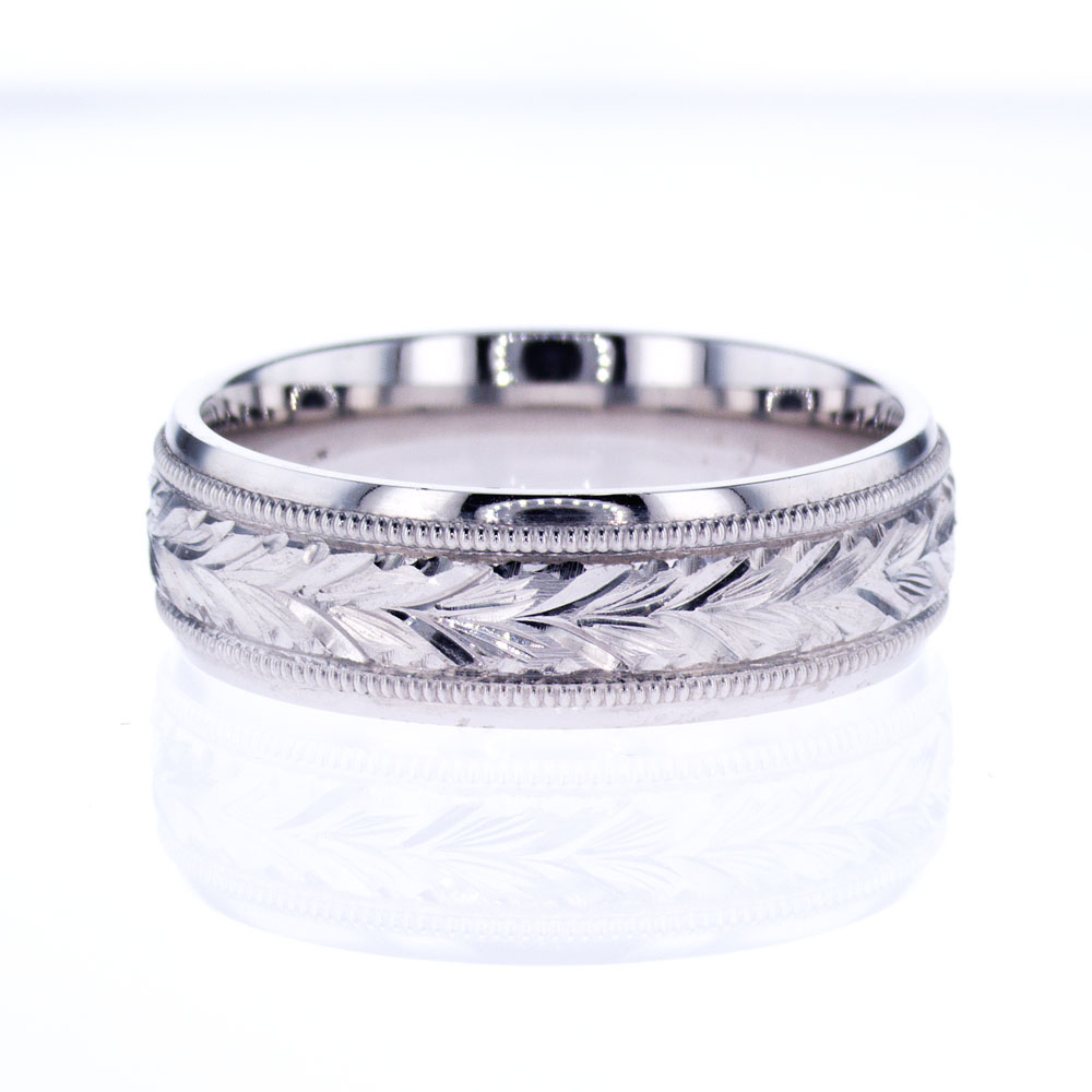 Men's Wedding Band with Braided Design, 18k White Gold