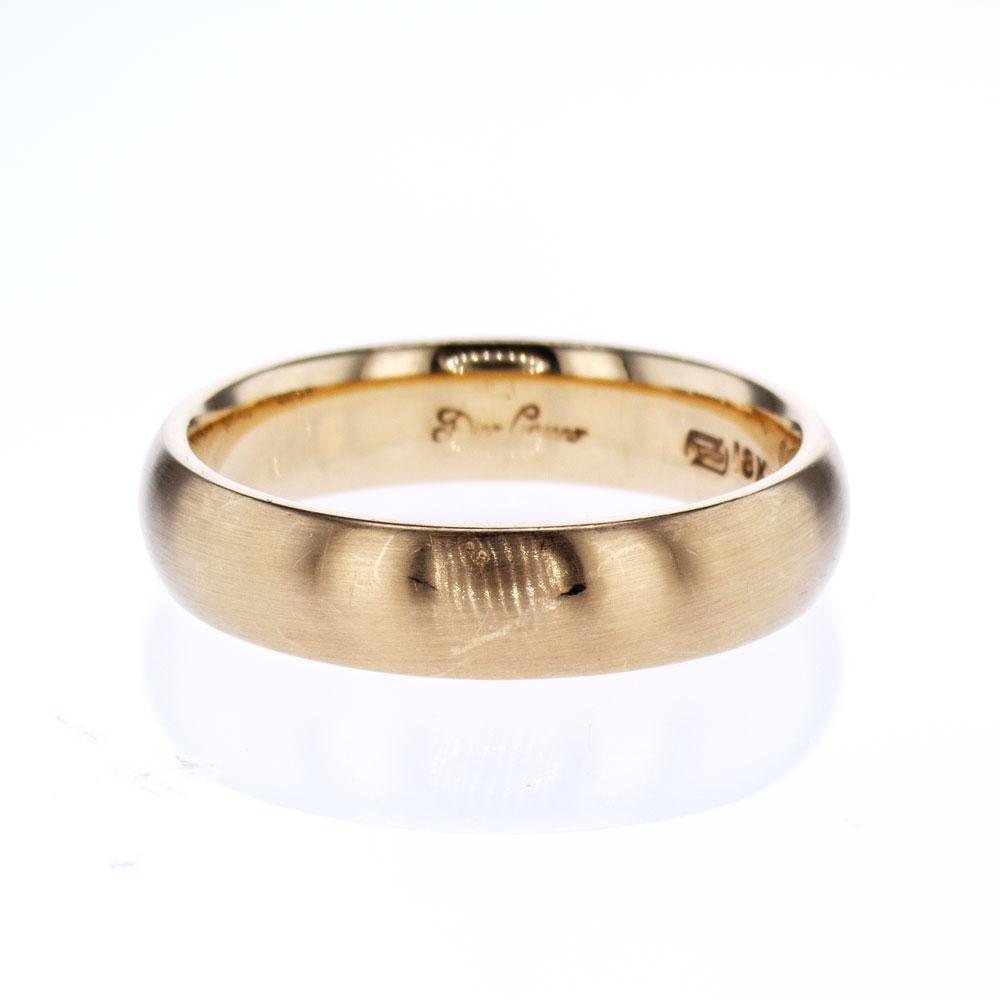 Satin Finish Classic Men's Wedding Ring, 18k Yellow Gold