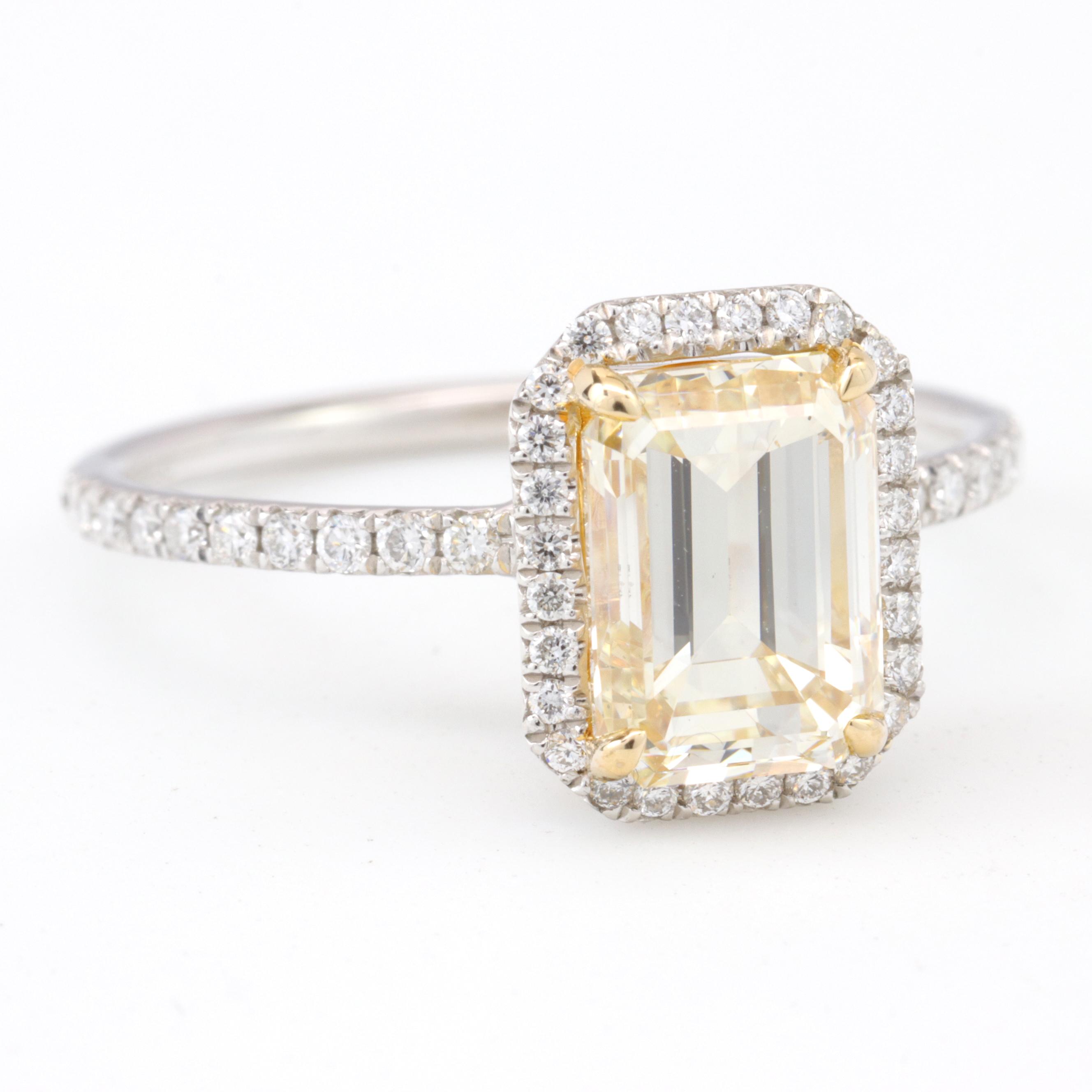 Vintage Yellow Diamond Ring, 18K White Gold