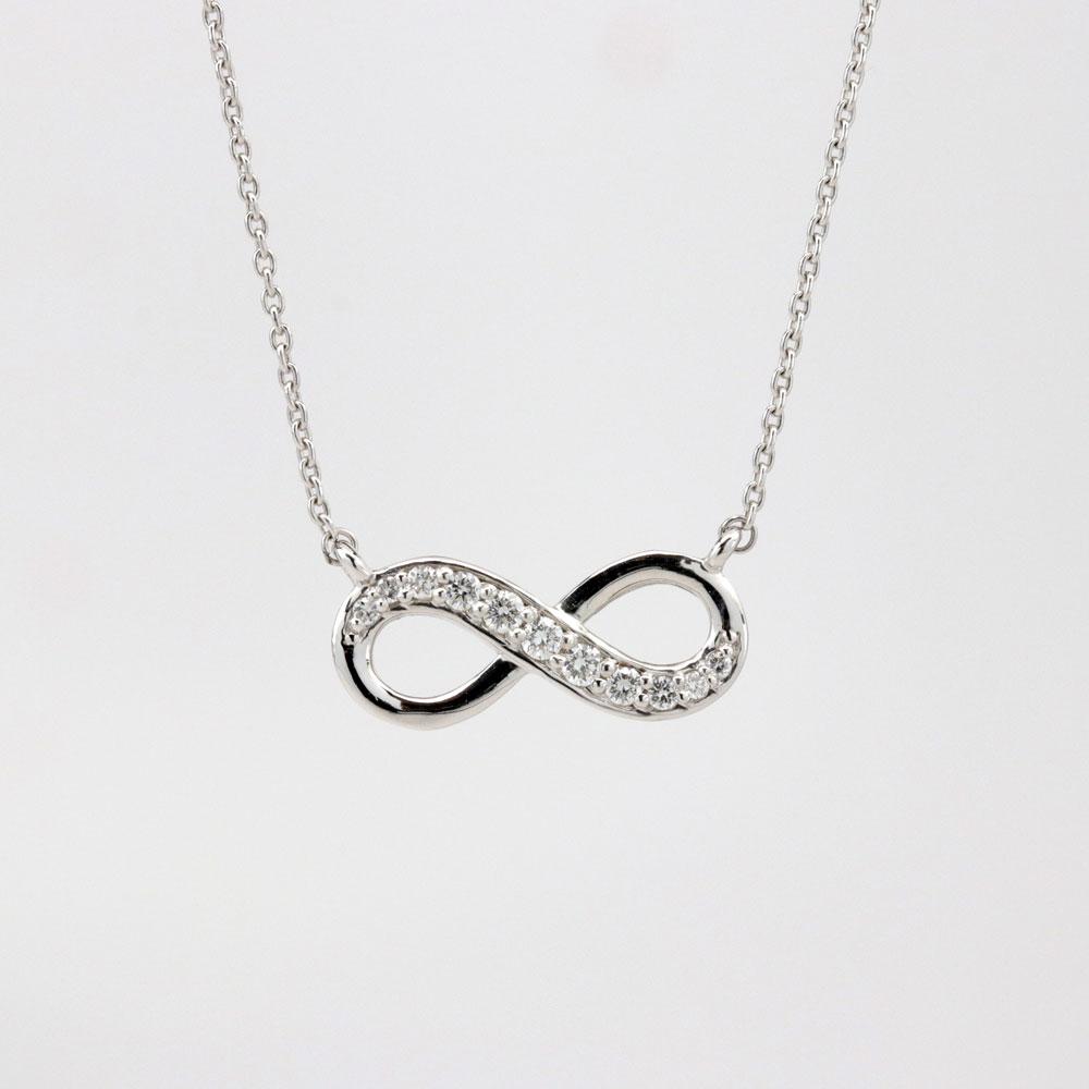 Petite Diamond Infinity Necklace, 14k White Gold