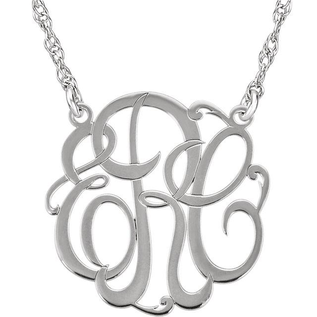 Custom Cursive Letter Monogram Necklace in 14K White Gold