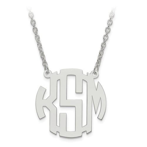 Custom Block Letter Monogram Necklace, 14k White Gold