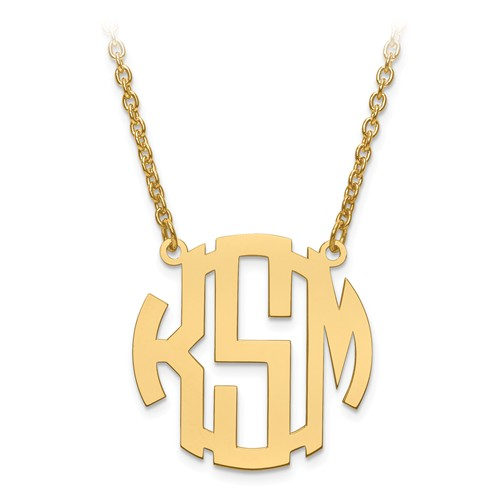Custom Circular Monogram Plate with Chain,  14k Yellow Gold