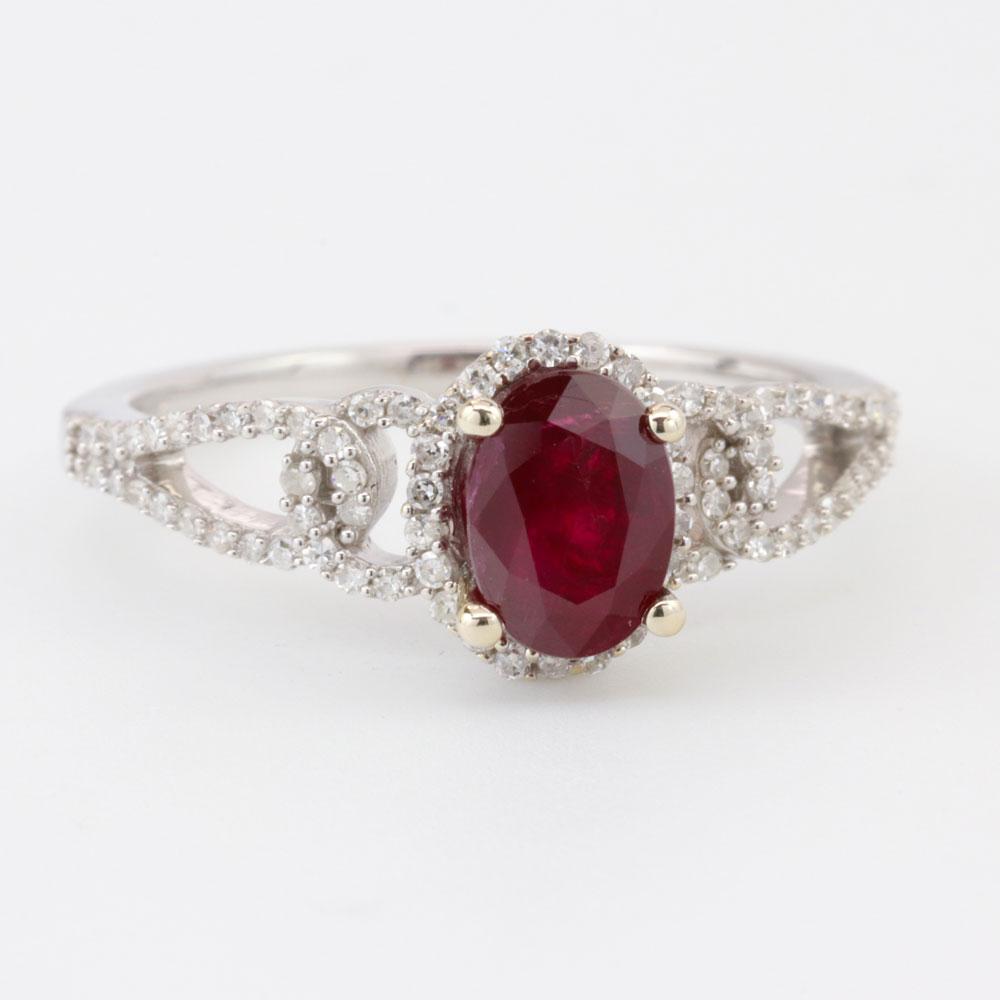 Open Design Ruby Engagement Ring, 18K White Gold