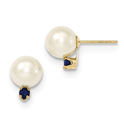 Pearl and Blue Sapphire Stud Earrings, 14k Yellow Gold