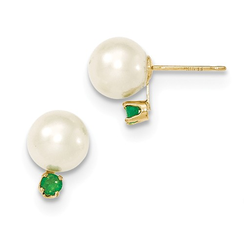 Pearl and Emerald Stud Earrings, 14k Yellow Gold