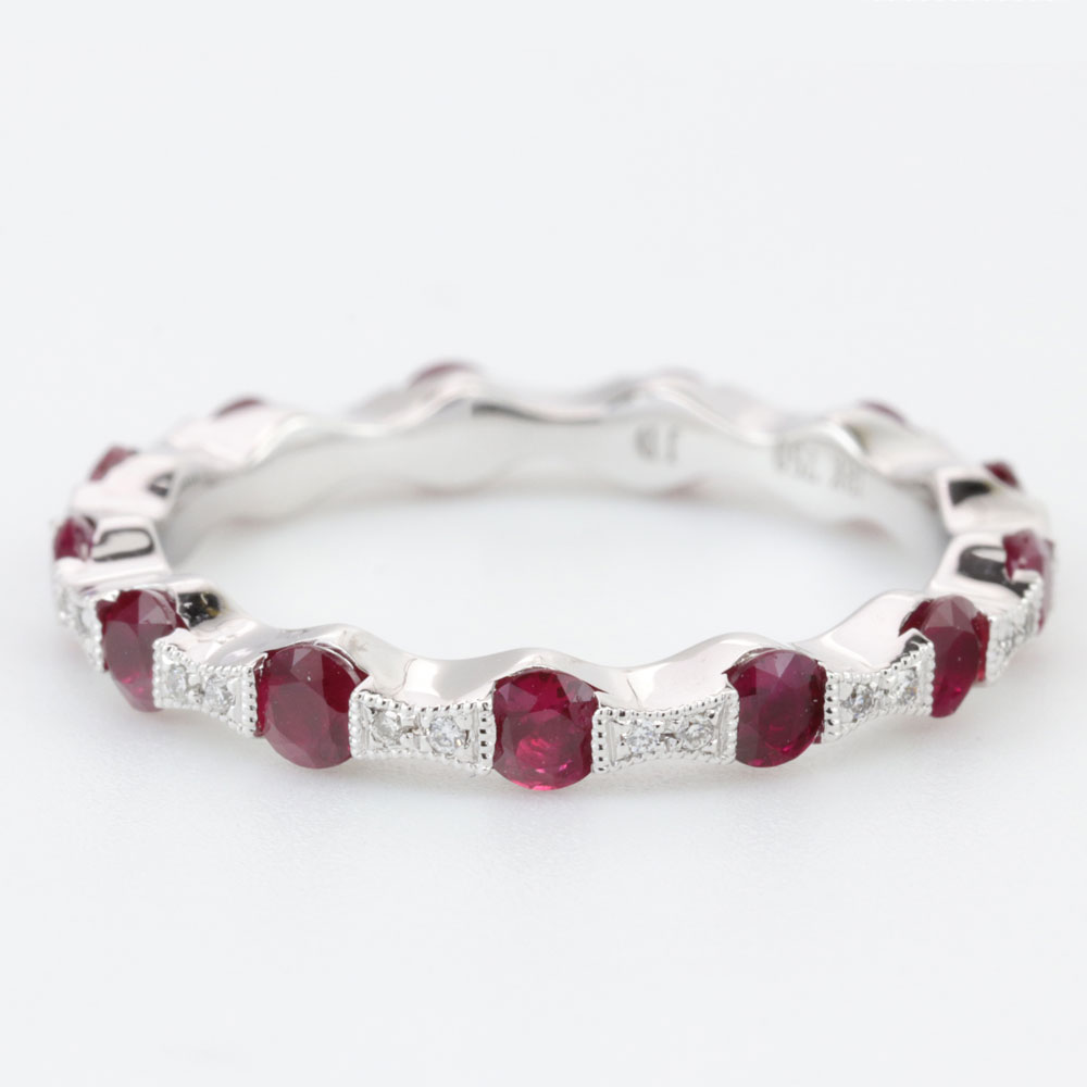 Ruby and Diamond Eternity Band, 18K White Gold