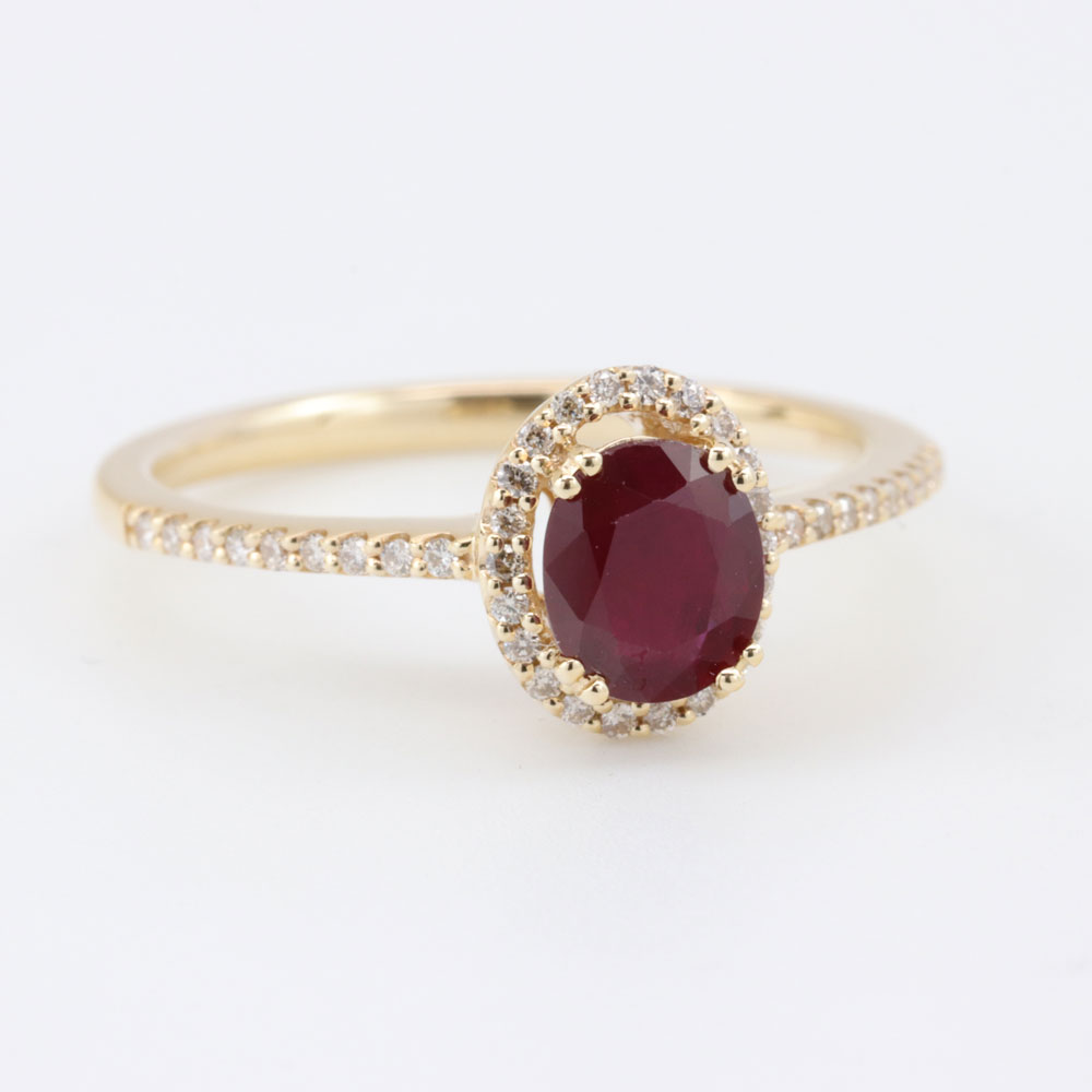 Ruby and Diamond Halo Ring, 18K Yellow Gold