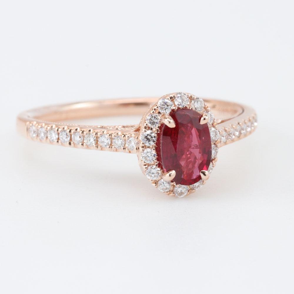 Open Filigree Ruby Engagement Ring, 14K Rose Gold