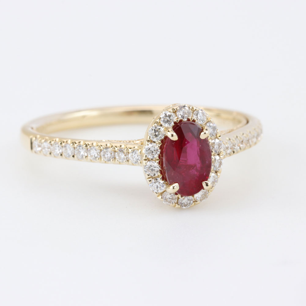 Open Filigree Ruby Engagement Ring, 14K Yellow Gold
