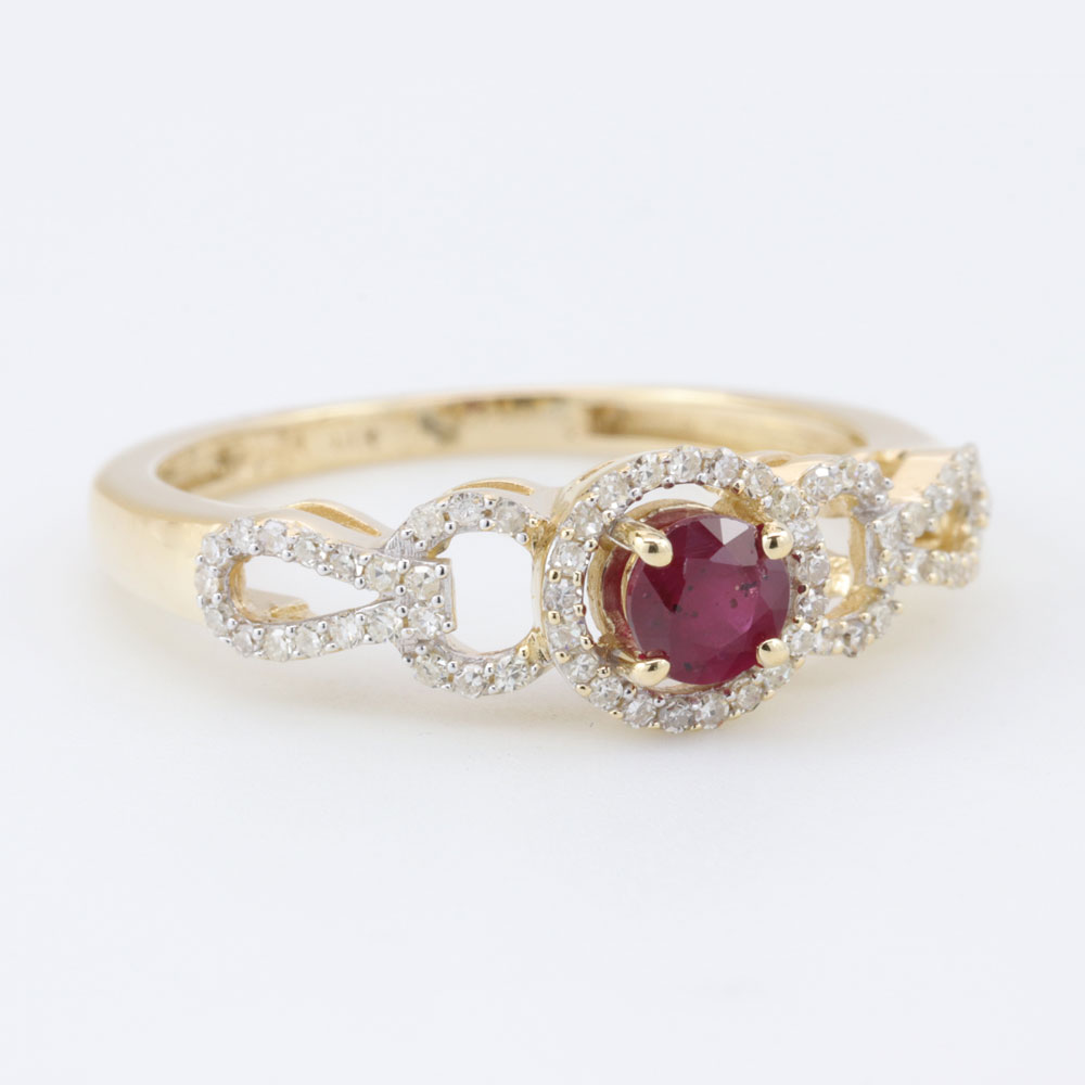 Ruby and Diamond Halo Engagement Ring, 18K Yellow Gold