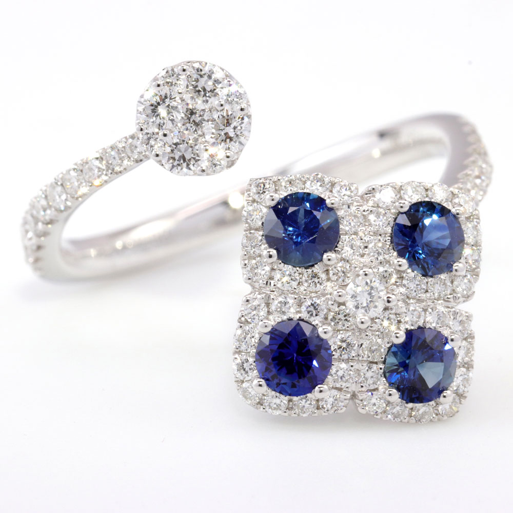 Blue Sapphire and Diamond Open Ended Ring, 18K White Gold