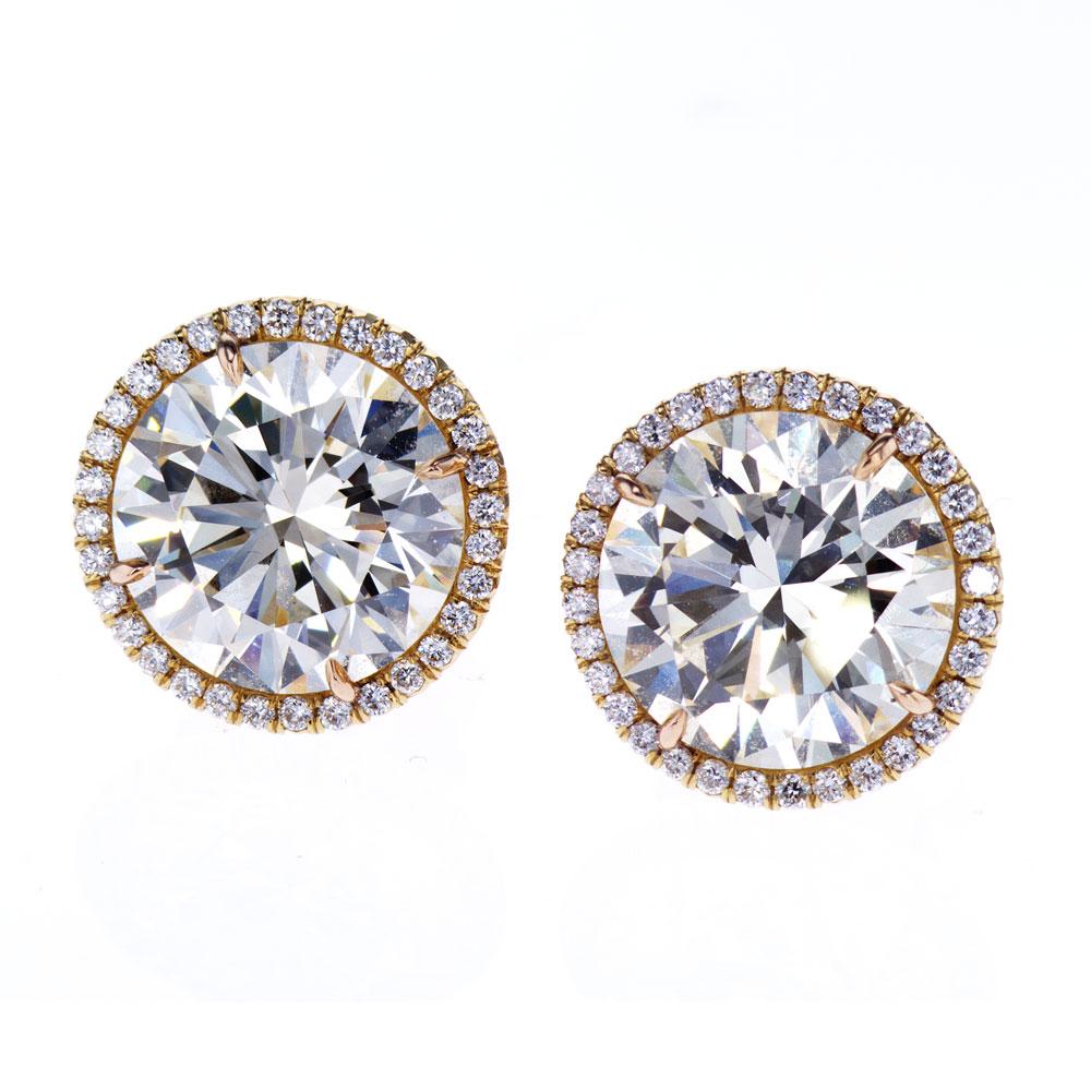 Diamond Halo Stud Earrings, 18k Yellow Gold
