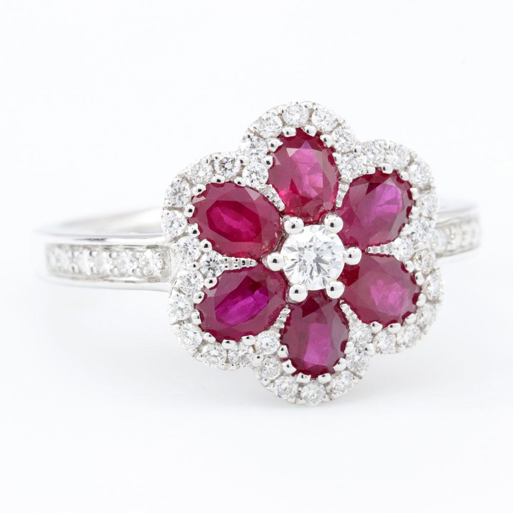 Floral Ruby Cocktail Ring with Diamond Accents 18K White Gold