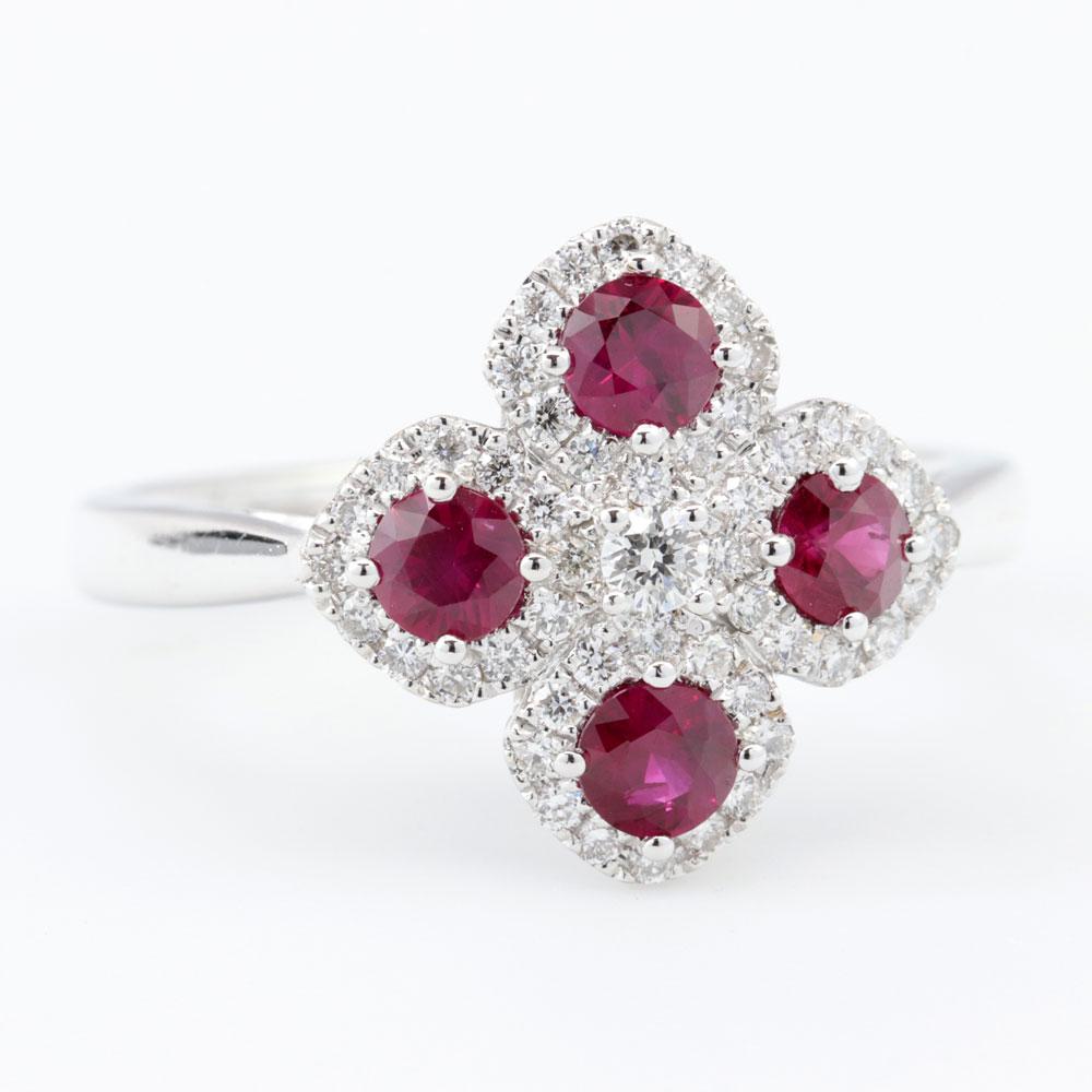 Ruby Petal Fashion Ring, 18K White Gold