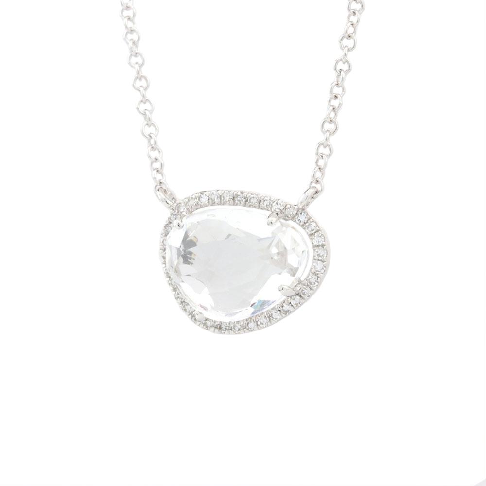 Rock Candy White Topaz & Diamond Necklace, 14K White Gold Gemstone Necklace