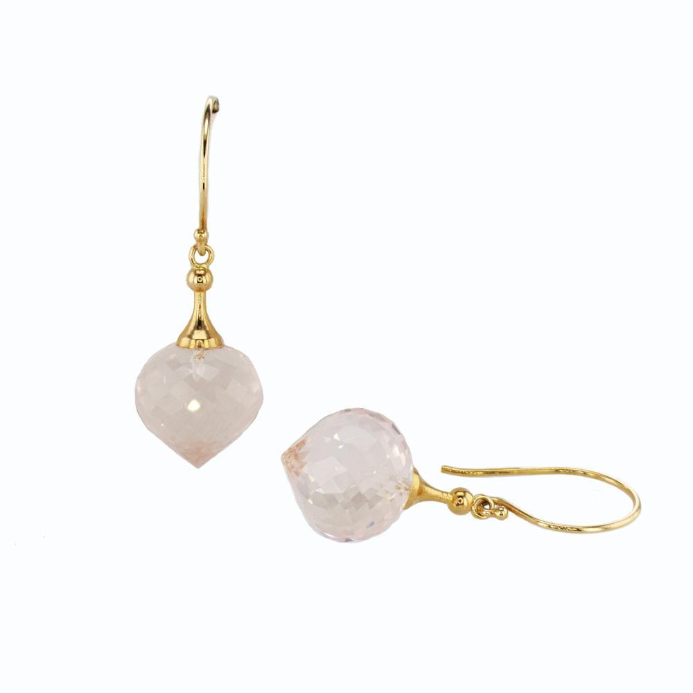 Rose Quartz Dangle Earrings in 14K Yellow Gold