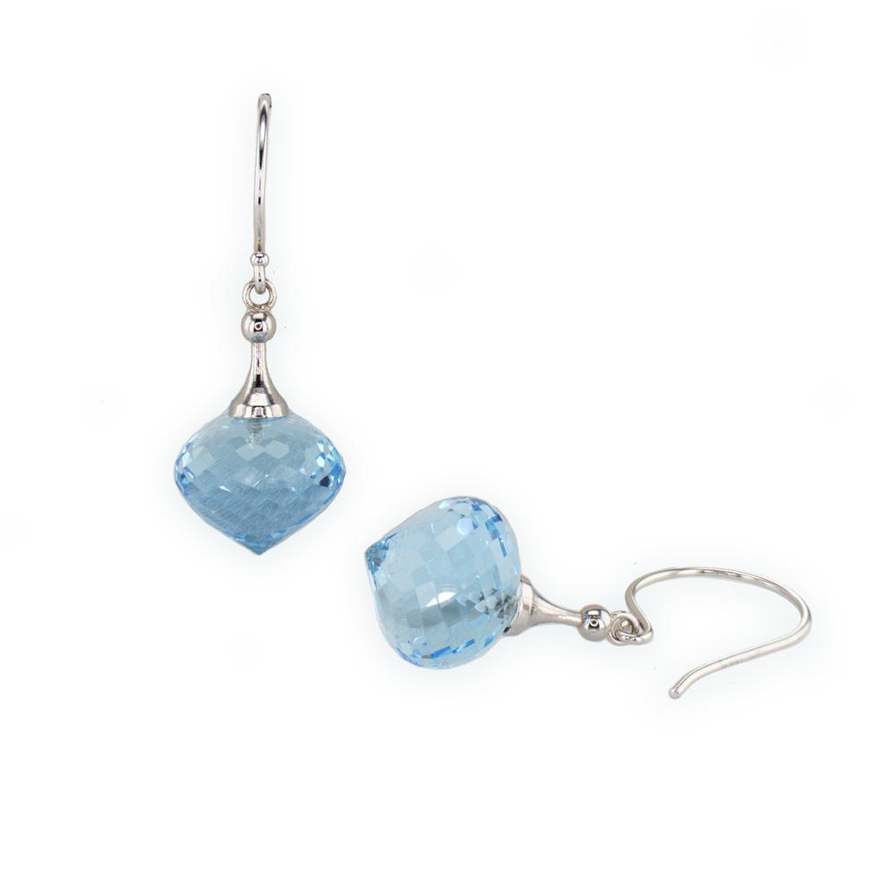 14K White Gold Briolle Shape London Blue Topaz Dangle Earrings