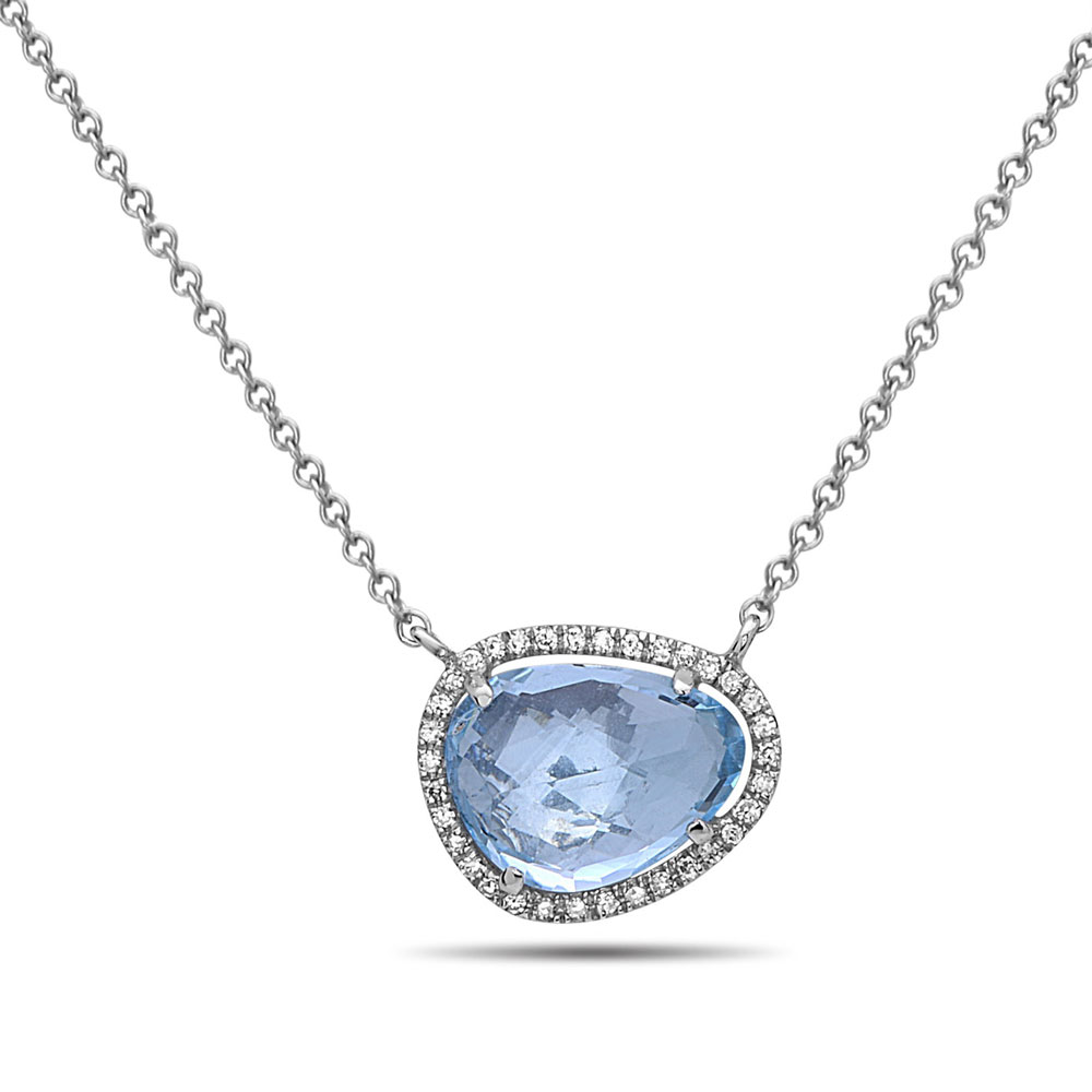 Rock Candy Blue Topaz and Diamond Necklace in 14K White Gold