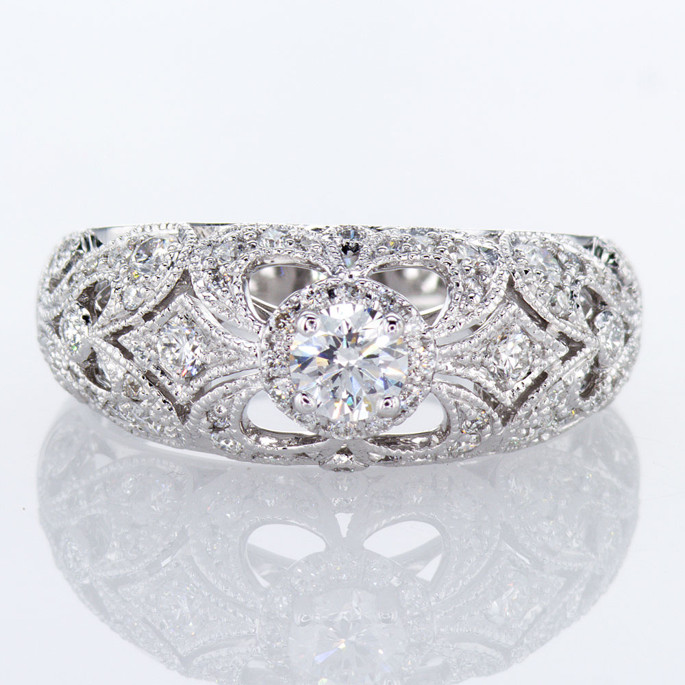 Ornate Profile Engagement Ring Setting, 14k White Gold(semi mount)