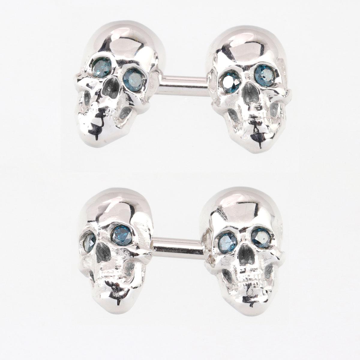 Skull Cuff Links with Blue Diamond Eyes, 14K White Gold