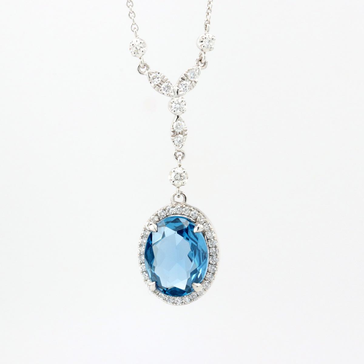 Oval Blue Sapphire and Diamond Halo Drop Pendant, 18K White Gold